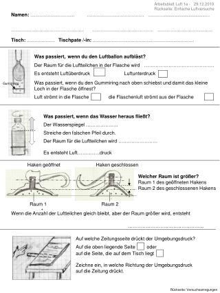 Arbeitsblatt Luft 1a -   29.12.2013 Rückseite: Einfache Luftversuche