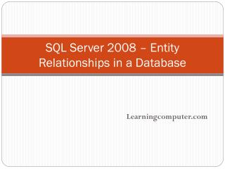 SQL Server 2008 – Entity Relationships in a Database