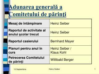 Adunarea generală a Comitetului de părinţi