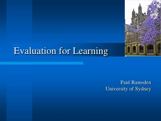 Evaluation for Learning