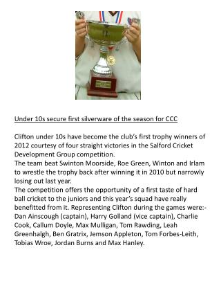 Under 10s secure first silverware of the season for CCC