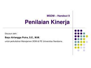 MSDM   Handout 9   Penilaian Kinerja