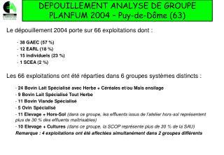 DEPOUILLEMENT ANALYSE DE GROUPE PLANFUM 2004 – Puy-de-Dôme (63)