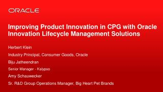 Improving Product Innovation in CPG with Oracle Innovation Lifecycle Management Solutions