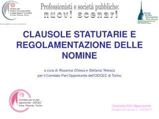 Comitato Pari Opportunità Gruppo di Lavoro L. 120/2011