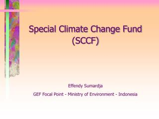 Special Climate Change Fund (SCCF) Effendy Sumardja