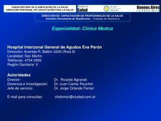 Especialidad: Clínica Medica