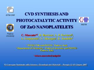 CVD SYNTHESIS AND PHOTOCATALYTIC ACTIVITY OF ZnO NANOPLATELETS
