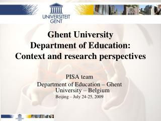 Ghent University Department of Education: Context and research perspectives