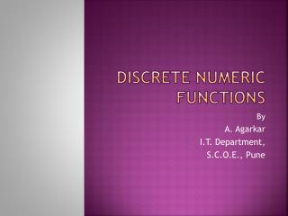 Discrete Numeric Functions