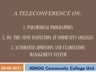 IGNOU Community College Unit