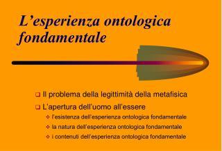 L'esperienza ontologica fondamentale
