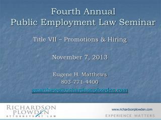 Fourth Annual Public Employment Law Seminar