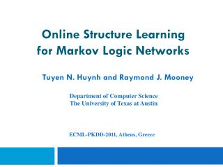 Online Structure Learning  for Markov Logic Networks
