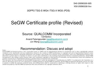SeGW Certificate profile (Revised)