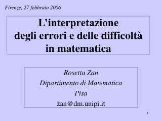 L interpretazione  degli errori e delle difficolt   in matematica