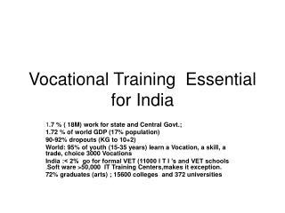 Vocational Training  Essential for India