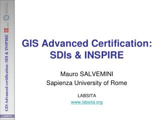 GIS Advanced Certification: SDIs & INSPIRE