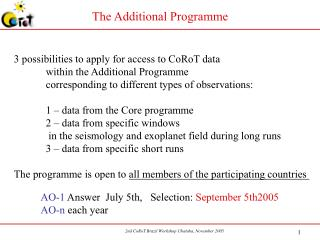 The Additional Programme