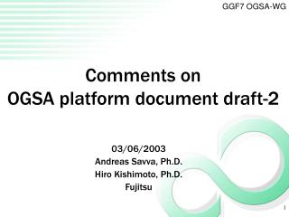 Comments on OGSA platform document draft-2