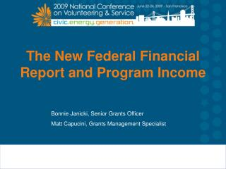 The New Federal Financial Report and Program Income