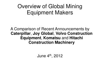 Overview of Global Mining Equipment Makers