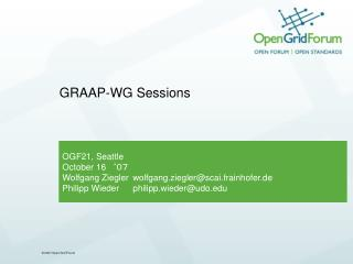 GRAAP-WG Sessions