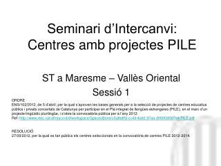 Seminari d'Intercanvi: Centres amb projectes PILE