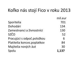 Koľko nás stojí Fico v roku 2013