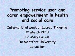 Promoting service user and carer empowerment in health and social care