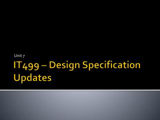 IT499 – Design Specification Updates