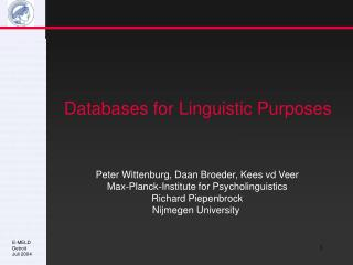 Databases for Linguistic Purposes