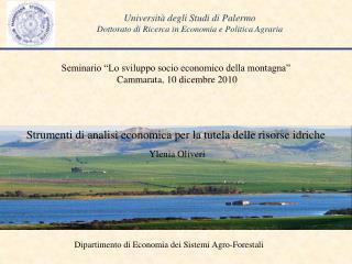 Università degli Studi di Palermo Dottorato di Ricerca in Economia e Politica Agraria