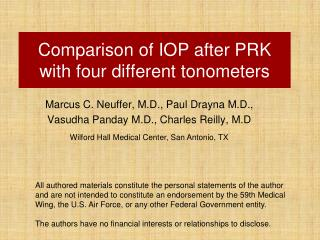 Comparison of IOP after PRK with four different tonometers