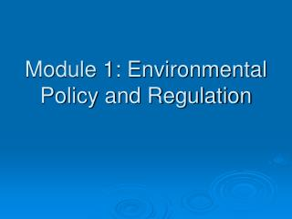 Module 1: Environmental Policy and Regulation