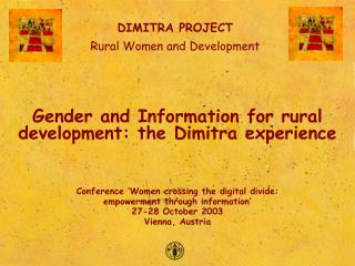 Gender and Information for rural development: the Dimitra experience