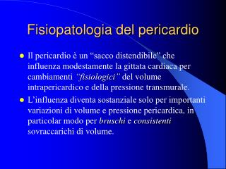 Fisiopatologia del pericardio
