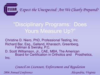 Disciplinary Programs:  Does Yours Measure Up
