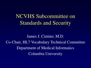 NCVHS Subcommittee on Standards and Security