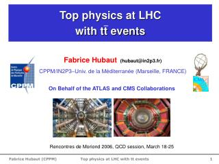 Top physics at LHC                           with tt events
