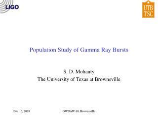 Population Study of Gamma Ray Bursts