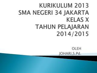 KURIKULUM 2013 SMA NEGERI 34 JAKARTA KELAS X TAHUN PELAJARAN 2014/2015