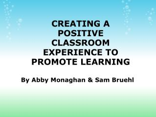 CREATING A POSITIVE CLASSROOM EXPERIENCE TO PROMOTE LEARNING