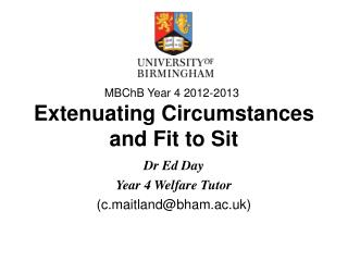Extenuating Circumstances and Fit to Sit
