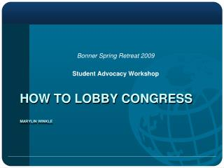 How to lobby congress Marylin  winkle