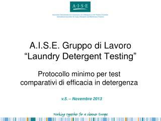 """A.I.S.E. Gruppo di Lavoro  """"Laundry Detergent Testing"""""""