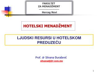 LJUDSKI RESURSI U HOTELSKOM PREDUZEĆU