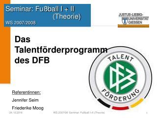 Seminar: Fußball I + II (Theorie) WS 2007/2008