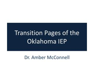 Transition Pages of the Oklahoma IEP