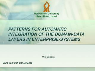 PATTERNS FOR AUTOMATIC INTEGRATION OF THE DOMAIN-DATA LAYERS IN ENTERPRISE-SYSTEMS